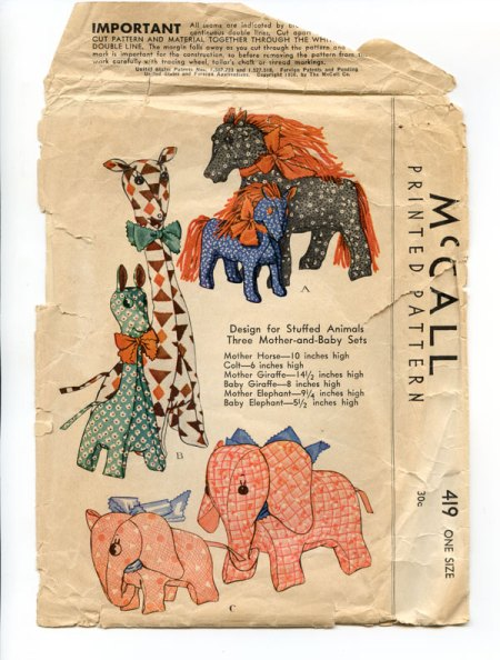 McCalls printed pattern for stuffed animals, 1936